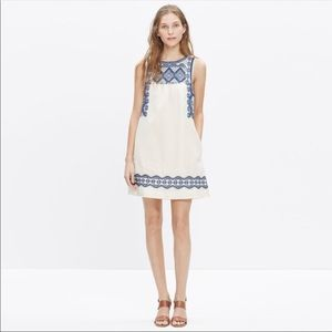 Madewell White Blue Embroidered Swing Dress